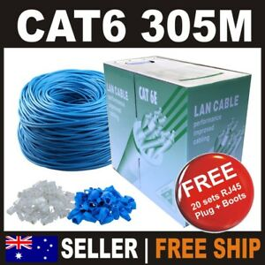 305m Blue Premium AWG23 Cat6 RJ45 Ethernet LAN Network Cable Roll Box