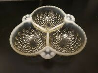 VINTAGE Clear GLASS DIVIDED CANDY TRINKET NUT RELISH DISH BOWL w/Milk Glass deco
