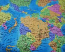 """GLOBE World Map Cotton Fabric Atlas Material 56"""" Metre Turquoise Blue FREE DELIV"""