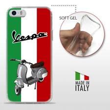 iPhone 5 5S SE TPU CASE COVER PROTETTIVA TRASPARENTE VINTAGE Vespa Tricolore