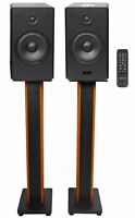 "2) Rockville HD5 5"" Bluetooth Bookshelf Home Theater Speakers+36"" Stands - Black"