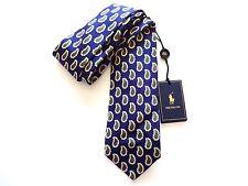 New Ralph Lauren Polo Italy 100% Silk Handmade Dark Blue Paisley Skinny Tie