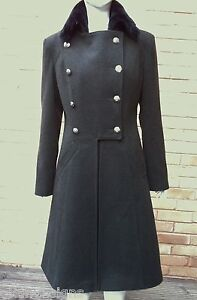 Ladies Military Army Coat with Faux Fur Collar Size 8 10 12 14 16 18 CHECK CHART