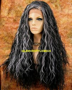 HUMAN HAIR BLEND LACE FRONT FULL WIG LONG SPIRAL CURLS LAYERED W BABY HAIR GRAY