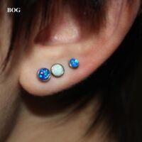 Fire Opal Lip Stud Cartilage Earring Labret Bars Tragus Piercing Body Jewelry