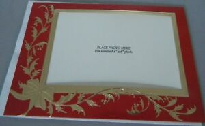 Box of Photo Holder Christmas Holiday Cards 14cnt Red Gold Foil