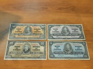 Canada Bank note 1937 $100 $50 $10 $5 Coyne Towers
