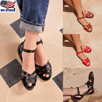 Womens Ladies Retro Gladiator Flat Sandals Summer Beach Buckle Shoes Size 6-10