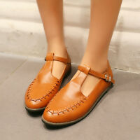 Women Oxford Retro Round Toe Mary Janes Pump Flat T-Strap Buckle Shoes Size 4-16