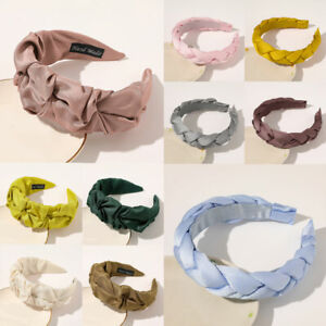 Retro Headband Solid Color Women Twist Braid Pleated Hair Hoop Hairpin Hairband