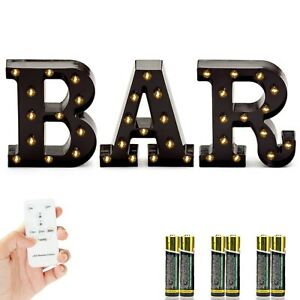 Marquee BAR Sign with Lights – Light Up Black B-A-R Letters for Home Decor