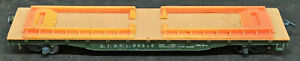TYCO A.T. & S.F 90806 GREEN FLAT CAR, HO SCALE VINTAGE