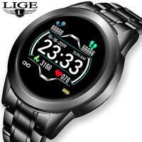 LIGE Men Smart Watch Waterproof Sports Heart Rate Blood Pressure Fitness Tracker