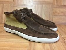 RARE🔥 VANS Surf Siders Ankle Moc Leather Tweed Boot Sz 10 Men's Brown Green LE