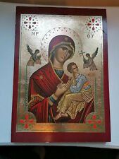 Madonna and Child Wall hanging Icon 28cm x 19.5 cm wooden 1.5 cm thick