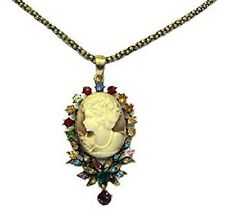 Antique Gold Cameo Necklace Multi Colour Crystal Gothic Vintage Style Pendant