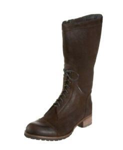 ANTELOPE anthropologie boots lace up zip brown suede Style 496 ~ 39 8 8.5