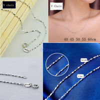 Fashion 925 Solid Sterling Silver 0.8mm V Chain Necklace Pendants ALL SIZES Gift