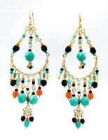 NEW ARTISANAL Turquoise Orange Coral Black Onyx Crystal Gold Chandelier Earrings