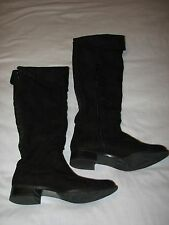 7 M Lime Light Black Faux Suede Leather Tall Ladies Boots Flat Studded Shoes 7M