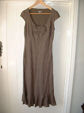PER UNA Size 10L Long Fully Lined Dress Brown Linen Polka dot