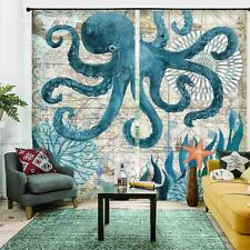 Octopus Blue Pattern 3D Curtain Blockout Photo Printing Curtains Drape Fabric