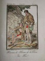 Gravure COSTUME COULEUR TERRE DE FEU  AMERIQUE DU SUD AMERICA RIO GRANDE 1806