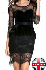 Velour Black Party Club Dance Vintage High Waist Lace Mesh Dress UK12-14