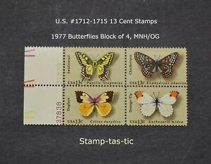 *U.S. #1712-1715 Butterflies, Block of 4, MNH/OG, Circa 1977, + Bonus*