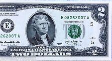 $2 dollar bill Birthday, Anniversary 8-26-2007 serial # E08262007A Uncirculated