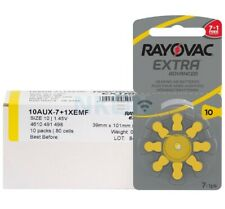 10 X 8 Rayovac Extra Advanced Hearing Aid Batteries Size 10 Yellow Tab PR70 Pack