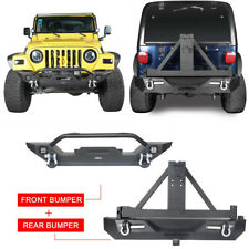 Front + Rear Bumper w/ Tire Carrier & LED Light for 1997-2006 Jeep Wrangler TJ