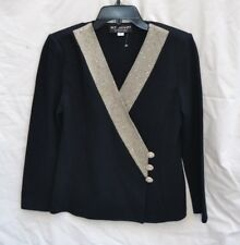 ST JOHN EVENING AUTH $1499 Women's Black Knit with Metallic Accent Jacket Size 2