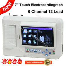 """CONTEC 7"""" Touch-Screen Resting Electrocardiograph,6-CH 12-lead EKG ECG, Software"""