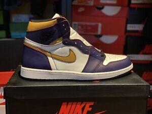 Men's Air Jordan 1 LA To CHI Retro Hi- Defiant- Size 14- Purple/Gold- Classic