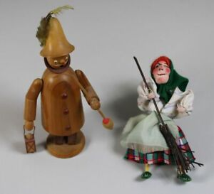 A12/2 Wooden Figures - Night Watchman M.Lantern Smoking Man + Witch With Broom /