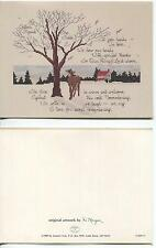 VINTAGE WINTER NOVEMBER HOUSE DEER EVERGREEN TREE SNOW DEAR LORD MOTTO NOTE CARD