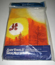 Vintage E.T. Extra Terrestrial Bath Towel & Wash Mitt New In Sealed Bag 1982