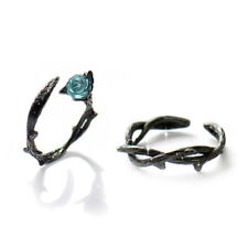 1Pair Fashion Creative Crystal Black Buds Roses Thorns Rings Couple Ring Jewelry