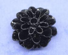 10 Resin Flower Cabochons, Chrysanthemum Mum JET BLACK 16mm cab0117