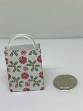 Handmade 12th Scale Dolls House Miniature Accessory Christmas Holly gift bag