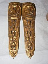Paire Antique French Bronze doré gilt bronze ameublement fronton montage fleurs fruits