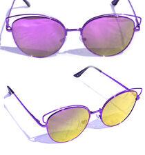 Occhiali da sole sunglasses specchio 2017 metallo viola DONNA + OMAGGIO A SCELTA