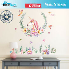 DIY Wall Sticker Unicorn Happy Flowers Art Vinyl Wall Decals Home Room Decor