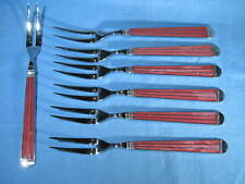 Set of 7 Gallo Edelstahl Red Marble Pattern 2-Prong 18/8 Stainless Steel Forks