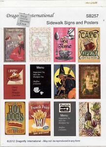 Kit - Sidewalk Signs &  Posters Sheet -  SB257 dollhouse miniature 1/12 scale