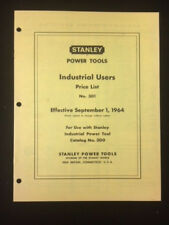 VINTAGE 1964 STANLEY POWER TOOLS INDUSTRIAL USERS PRICE LIST NO.101