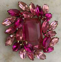 Fabulous Vintage Signed Regency LARGE STONE Pink, Fuchsia Rhinestone Brooch