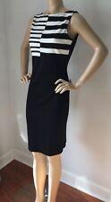 NWT St John Knit Dress Size 12 Black Caviar & Cream Milano knit wool rayon