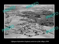 OLD POSTCARD SIZE PHOTO UFFINGTON OXFORDSHIRE ENGLAND TOWN AERIAL VIEW c1950 1